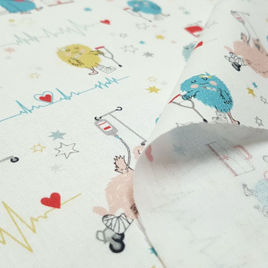 Cotton Medicine Monsters Crutches fabric - Organic cotton poplin fabric with medical themes, with very funny drawings of monsters in the hospital with crutches, cast legs, with hospital droppers... on a white background with drawings of electrocardiograms