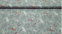 Cotton Forest Animals Mint fabric - Children's cotton poplin fabric in which drawings of forest animals such as foxes, bears, birds, hedgehogs and bunnies appear on a mint green background with trees and plants. The fabric is 150cm wide and its composi