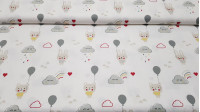 Cotton Bears Bunnies Clouds Gray fabric - Children's cotton poplin fabric with drawings of bunnies and bears with gray balloons on a white background with gray smiling clouds, colorful rain and red hearts. The fabric is 150cm wide and its composition 100%