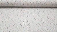 Tela Algodón Estrellas Asteriscos Colores - Tela de algodón tipo popelín con dibujos de estrellas en forma de asterisco de diferentes colores sobre un fondo blanco. Tela fabricada en España. La tela mide 150cm de ancho y su composición 100% algodón.