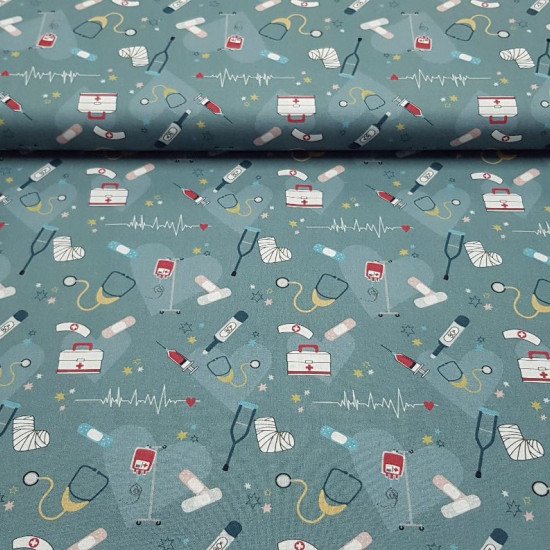 Cotton Medicine Hospital Hearts fabric - Organic cotton poplin fabric with a medical theme with drawings of stethoscopes, electrocardiograms, syringes, band-aids, crutches, thermometers... all on a gray background with large hearts and stars in various co