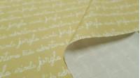 Tela Algodón Letras Infantil Amarillo - Tela de popelín algodón orgánico con dibujos de textos en caligrafía infantil sobre un fondo amarillo. La tela mide 150cm de ancho y su composición 100% algodón.
