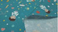 Tela Algodón Medicina Hospital Azul Petróleo - Tela de popelín algodón de temática sanitaria, con dibujos de personal sanitario de hospital (enfermería, doctoras, cirujanos...) sobre un fondo azul petróleo con dibujos de píldoras, termómetros, estetoscopi