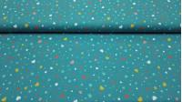 Tela Algodón Corazones y Topos Azul Petróleo - Tela de popelín algodón con dibujos de corazones y topos de colores sobre un fondo azul petróleo. La tela mide 150cm de ancho y su composición 100% algodón.