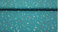 Cotton Medical Instruments fabric - Poplin cotton fabric with drawings of medical instruments and utensils, such as thermometers, syringes, stethoscopes, bandages, medicines... on an blue petrol background with hearts and pills. The fabric is 150cm wid