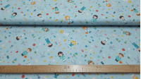 Cotton Medicine Hospital Light Blue fabric - Cotton poplin fabric with drawings of health personnel (nursing, surgeons, doctors ...) on a light blue background with drawings of syringes, hearts, pills, thermometers, bandages... The fabric is 150cm wide an