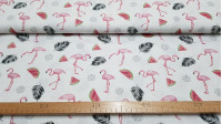 Cotton Flamingos Watermelons fabric - Cotton fabric with drawings of flamingos, watermelons, and black feathers on a white background. Original fabric for decorations and children's clothing. This fabric is 140cm wide and its composition is 100% cotton