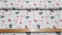 Tela Algodón Flamencos - Tela de algodón con dibujos de flamencos, sandías, y plumas negras sobre un fondo blanco. Original tela para decoraciones y prendas infantiles. Este tejido mide 140cm de ancho y su composición es 100% algodón