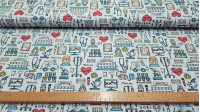 Cotton Medicine Drawings fabric - Digital printing cotton poplin fabric with medical themed drawings, in which different medical instruments, drawings of nurses and doctors, ambulances, hospitals, test tubes... appear on a light blue background. The
