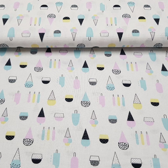Cotton Ice Cream Colors fabric - Cotton fabric with colorful ice cream drawings on a white background. The fabric is 150cm wide and its composition 100% cotton