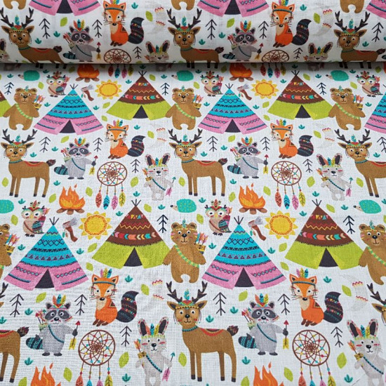 Cotton Animals Indian Village fabric - Very colorful digital print cotton fabric with drawings of animals dressed as Indian tribe where items such as tepee tents, bonfires and other Indian symbols appear. The fabric is 140cm wide and its composition is 10