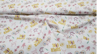 Cotton Super Girl fabric - Organic cotton fabric with drawings in various colors of bicycles, spokes, gym weights, crowns and phrases