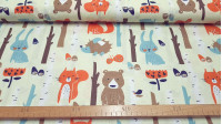 Cotton Animals Mushrooms Forest fabric - Children's cotton poplin fabric with large drawings of animals, mushrooms in the forest, tree trunks and flowers on a light beige background. The fabric is 160cm wide and its composition is 100% cotton.