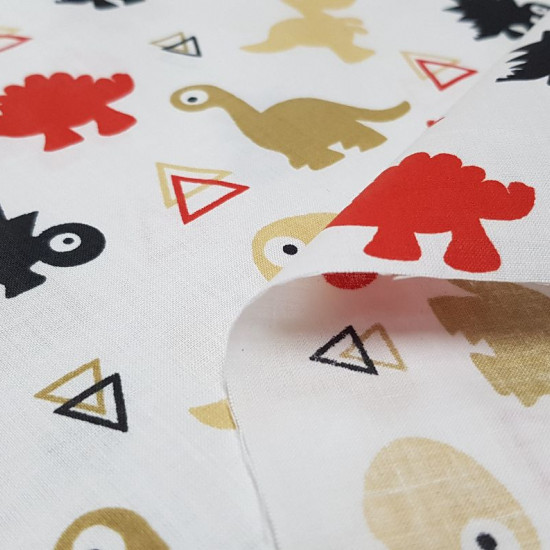 Cotton Dinosaurs Triangles fabric - Funny cotton fabric with dinosaurs of various colors and triangle shapes on a white background. The fabric is 160cm wide and its composition is 100% cotton.