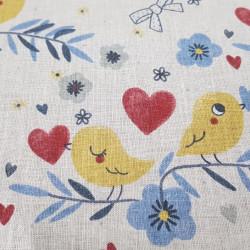Cotton Birds Hearts Beige