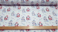 Cotton Penguins Warm fabric - Digital printing satin cotton fabric with drawings of warm penguins with their hat and scarf on a light background with snowflakes and snowy branches. The fabric is 140cm wide and its composition is 100% cotton.