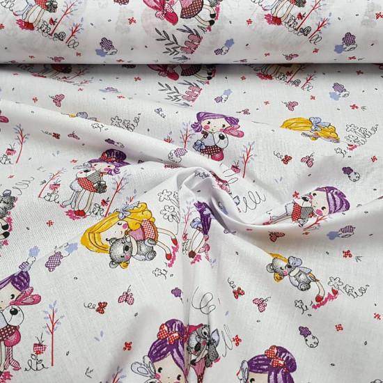 Tela Algodón Nenas de Rosa - Preciosa tela infantil de algodón tipo percal con dibujos de nenitas con el pelo rosa, lila y rubio con faldas de topos y con peluches. Hay también otros elementos de jardín y florales. Todo ello sobre un fondo de color