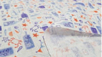 Cotton Marine Bottles fabric - Percale cotton fabric digital print with sea-themed drawings where bottles with starfish, crabs, shells, conches, jellyfish... appear on a white background. The fabric is 150cm wide and its composition is 100% cotton