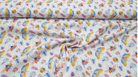 Cotton Colorful Insects fabric - Organic cotton fabric with pictures of insects like beetles, ladybugs and more colorful insects on a white background. The fabric is 150cm wide and its composition is 100% cotton.