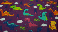 Cotton Forest Dinosaurs Violet fabric - Cotton fabric with drawings of colorful dinosaurs and white clouds on a purple/violetbackground with trees. The fabric is 140cm wide and its composition is 100% cotton.