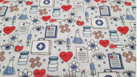 Tela Algodón Medicina Laboratorio - Tela de algodón con dibujos de temática de laboratorio medicina, con utensilios como probetas, jeringuillas, maletines médicos, tiritas, corazones…sobre un fondo en tonos grisaceos. La tela mide 140cm de ancho y su