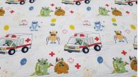 Tela Algodón Medicina Ambulancias Monstruos - Tela de algodón orgánico con dibujos de temática hospital, donde aparecen divertidos monstruos conduciendo ambulancias, globos con tiritas, monstruos escayolados…sobre un fondo blanco. La tela mide 150cm de a