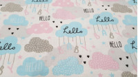 Cotton Clouds Hello Baby fabric - Children's cotton fabric with drawings of clouds in sweet colors and letters hanging from them forming the phrase