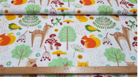 Cotton Forest Deer Owls fabric - Decorative cotton fabric with drawings of forest animals such as deer, owls, squirrels, foxes and different vegetation, on a white background. The fabric is 160cm wide and its composition is 100% cotton.