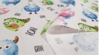 Tela Algodón Monstruos Roar - Tela de algodón satinado con dibujos graciosos de monstruos y palabras grrr y roar sobre un fondo blanco. La tela mide 140cm de ancho y su composición 100% algodón.
