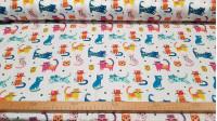 Tela Algodón Gatos Colores - Tela de algodón satinado con dibujos de gatos de colores sobre un fondo blanco. La tela mide 140cm de ancho y su composición 100% algodón.