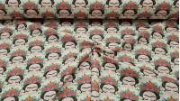 Tela Algodón Frida Sueños - Tela de algodón empesa estampación digital con dibujos infantiles de Frida Kahlo soñando sobre un fondo blanco. La tela mide 140cm de ancho y su composición 100% algodón.