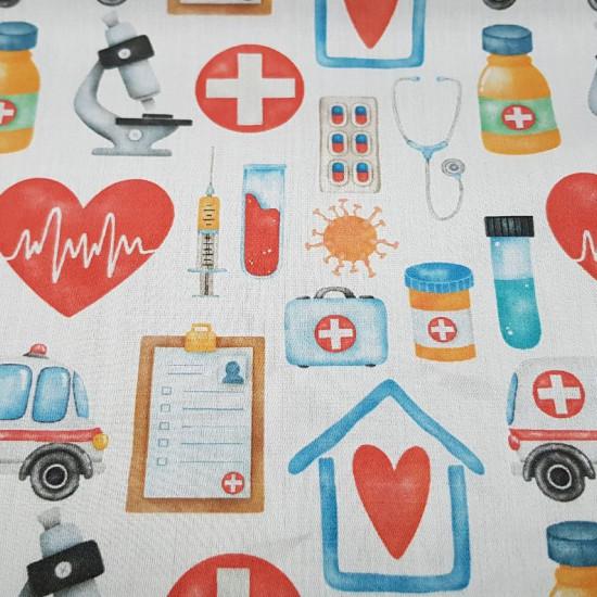 Tela Algodón Medicina Cruces Rojas - Tela de algodón satinada de temática sanitaria con dibujos de corazones con electrocardiogramas, microscopios, ambulancias, medicinas, cruces rojas…sobre un fondo blanco. La tela mide 140cm de ancho y su composición