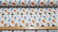 Tela Algodón Cuentos Mago de Oz - Tela de algodón empesa estampación digital con dibujos de los personajes delcuento del Mago de Oz. La tela mide 140cm de ancho y su composición 100% algodón.