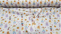 Cotton Cinderella Tales fabric - Cotton fabric digital printing with drawings of the characters and elements of the classic Cinderella tale on a white background. The fabric is 140cm wide and its composition is 100% cotton.