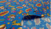 Cotton Superheroes Stars Background fabric - Digital print children's cotton fabric with drawings of girls, boys and pets dressed as superheroes on a blue background with colorful stars and onomatopoeias. The fabric is 140cm wide and its composition is 10