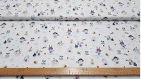 Cotton Animal Pirate fabric - Children's themed organic cotton fabric with pictures of animals dressed as pirates and sailors. The fabric is 150cm wide and its composition is 100% cotton.