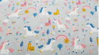 Cotton Unicorn Castles Gray fabric - Cotton fabric with children's drawings of unicorns, castles, flowers, clouds... in contrast tones on a gray background. The fabric is 140cm wide and its composition is 100% cotton.