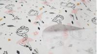 Tela Algodón Bailarinas Tutú - Tela de algodón infantil con dibujos de bailarinas sobre un fondo con dibujos de estrellas, flores, topitos de colores… La tela mide 150cm de ancho y su composición 100% algodón.