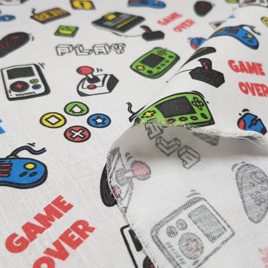 Cotton Video Game Controllers fabric - Cotton fabric digital printing with drawings of classic game controllers on a white background, in which phrases of