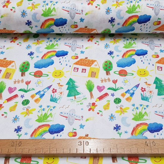 Cotton Children's Drawings fabric - Cotton fabric with simulating drawings that are hand painted with bright colors. Drawings like unicorns, cows, wooden trains, airplanes, flamingos, palm trees, cacti ... finally, a very fun and varied fabric