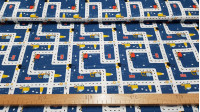 Cotton Transport Blue fabric - Children's cotton fabric with drawings of transport trucks on roads on a blue background. The fabric is 150cm wide and its composition is 100% cotton.