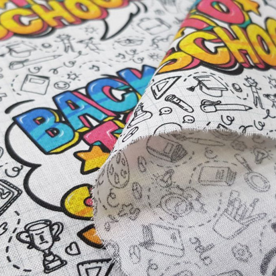 """Cotton Back to School fabric - Cotton fabric digital printing with school-themed drawings and phrases from """"Back to School"""" The fabric is 140cm wide and its composition is 100% cotton."""