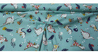 Cotton Funny Dinosaurs Green fabric - Children's cotton fabric with drawings of dinosaurs on a sea green background. The fabric is 150cm wide and its composition is 100% cotton.