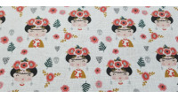 Cotton Children's Frida fabric - Cotton fabric digital printing with children's drawings of Frida Kahlo on a white flowered background and with gray skulls. The fabric is 140cm wide and its composition is 100% cotton.