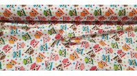 Cotton Colorful Polka Dot Owls fabric - Satin cotton fabric with colorful owls and polka dots on a white background. The fabric is 140cm wide and its composition is 100% cotton.
