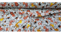 Cotton Jungle Lions Giraffes fabric - Children's cotton fabric with drawings of jungle animals such as lions, giraffes, tigers... on a background of black and white vegetation. The fabric is 150cm wide and its composition is 100% cotton.