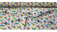 Cotton Frida Leaves Geometry fabric - Cotton fabricdigital printing with drawings of representative faces of Frida Kahlo on a colorful background of geometric shapes and leaves on a white background. The fabric is 140cm wide and its composition is