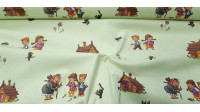 Cotton Tale Hansel Gretel fabric - Decorative cotton fabric with drawings of characters from the classic tale Hansel and Gretel by the Brothers Grimm on a light background. The fabric is 140cm wide and its composition is 100% cotton.