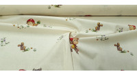 Cotton Tale Little Red Riding Hood fabric - Decorative cotton fabric with drawings of the classic tale of Little Red Riding Hood. The fabric is 140cm wide and its composition 100% cotton.