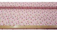 Tela Algodón Cerezas Rosa - Tela de algodón con dibujos de cerezas sobre un fondo rosa. La tela mide 150cm de ancho y su composición 100% algodón.